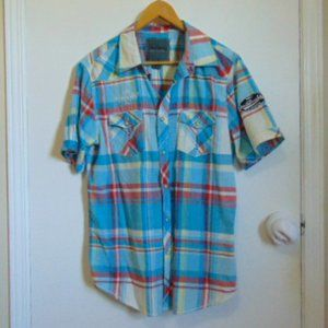 Urban Heritage South Beach 85, Snap Front Shirt, Plaid(blue/red), Size M Pockets